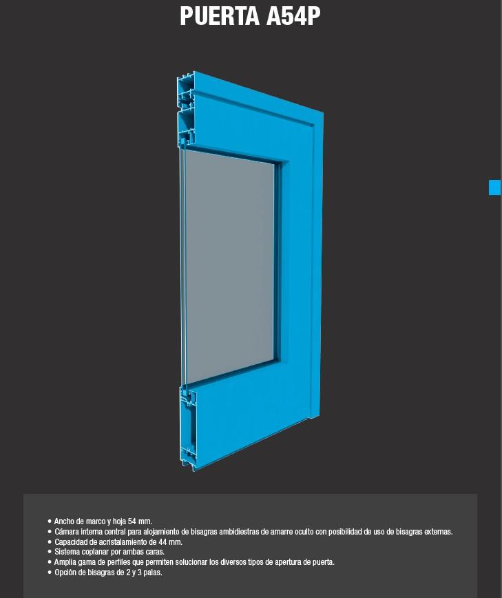 Puertas de aluminio - Puerta A54 P - Catal-Pur S.L.